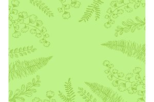 Leaves of plants engraving vector illustration