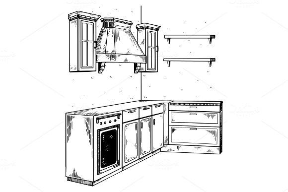 Kitchen furniture engraving vector illustration