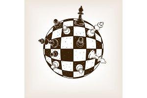 Spherical chess engraving vector illustration