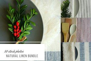Natural linen fabric bundle.