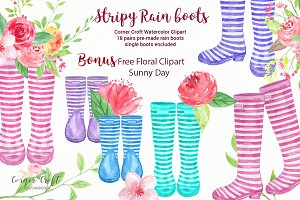 Watercolor Stripe Rain Boots