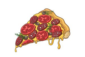 Pizza slice icon on white