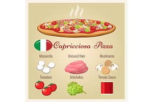 Pizza capricciosa with ingredients