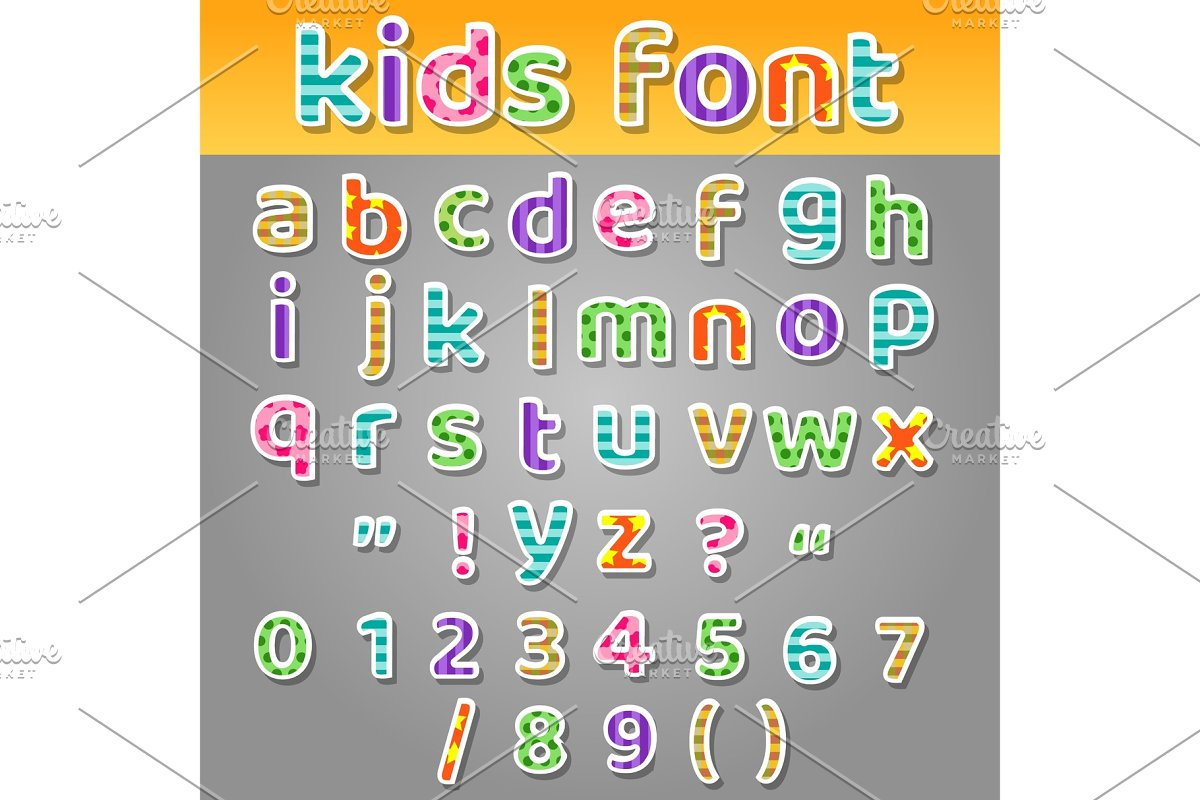 Cute kids patchwork patterns alphabet in Objects