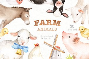 Farm Animals Watercolor clipart