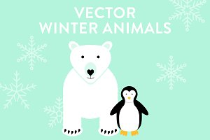 Vector Polar Bear and Penguin