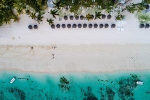 Beach shoreline in Mauritius