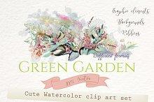 Green garden. Floral graphic set