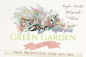 Green garden. Floral graphic set
