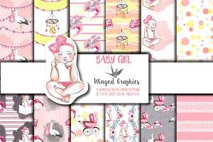 Baby Girl: seamless patterns