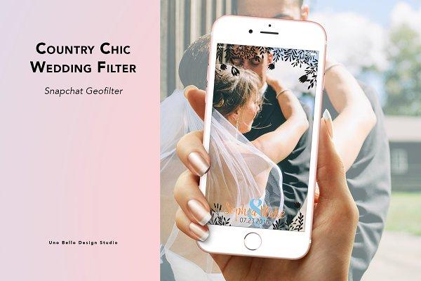 Snapchat Templates: Uno Bello Design Studio - Country Chic Wedding Filter
