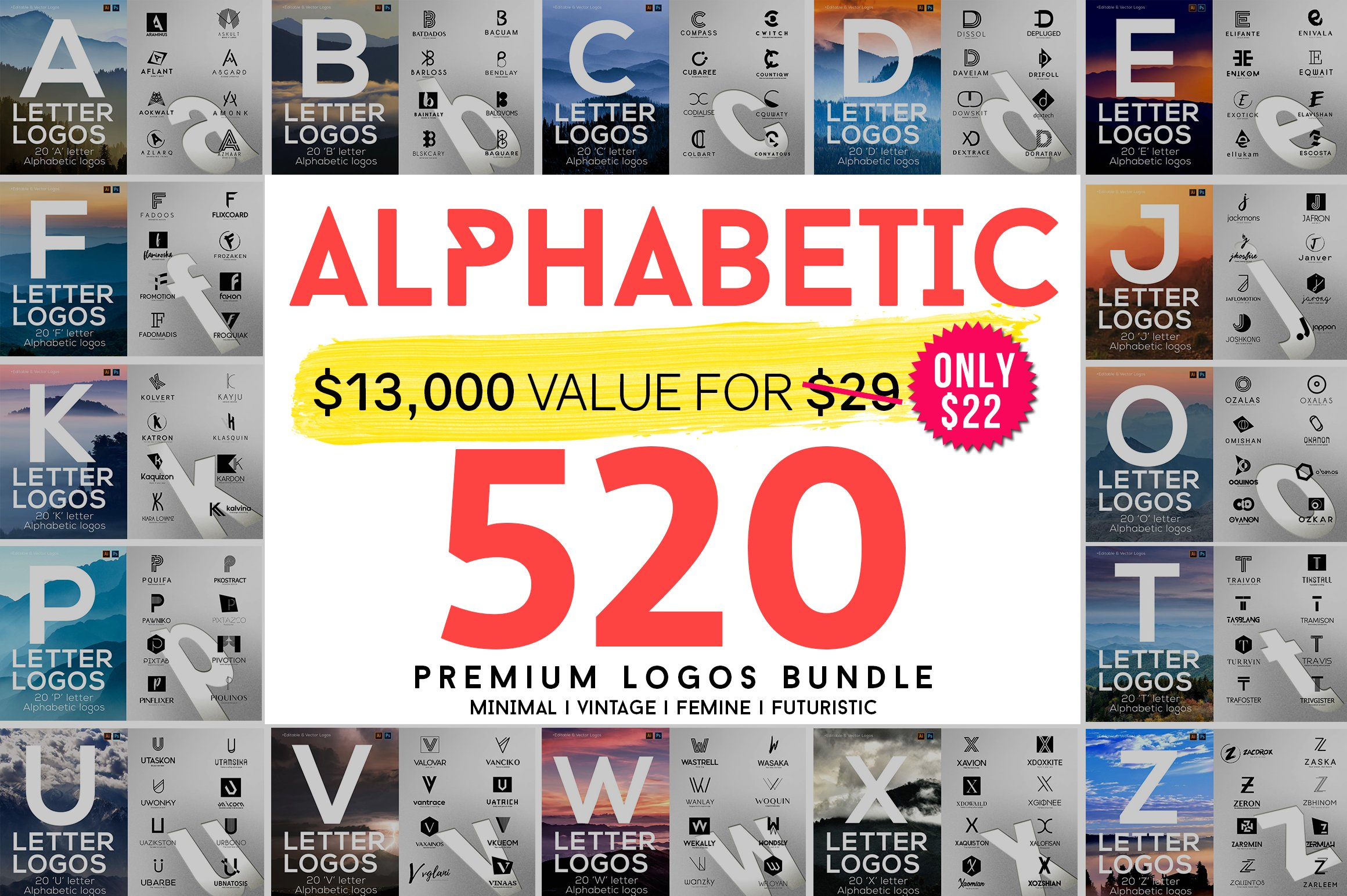 40bb0a801e 520 A to Z Logos Bundle ~ Logo Templates ~ Creative Market