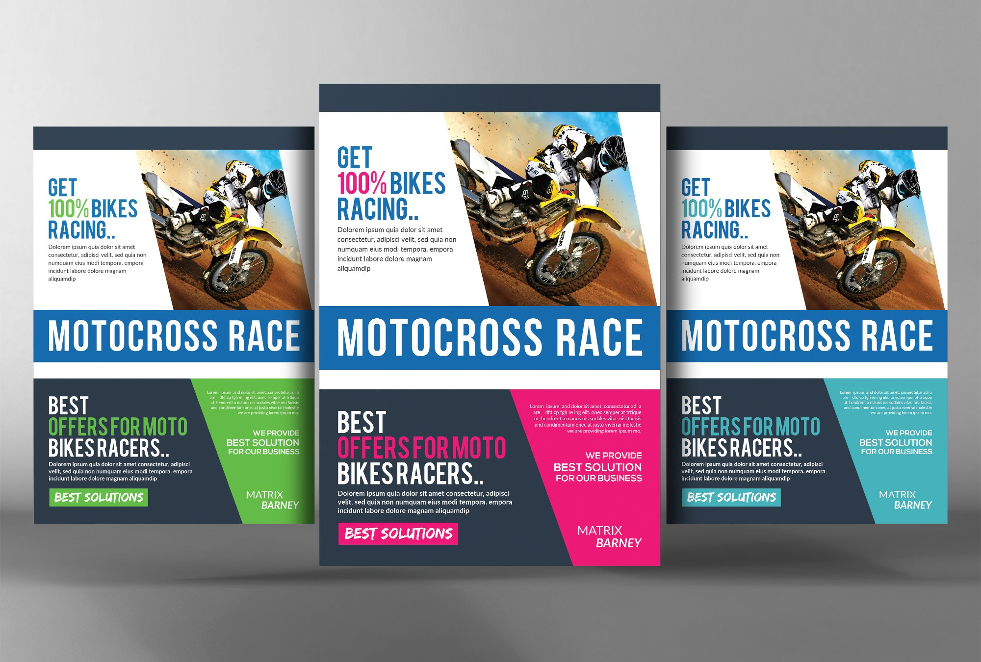 motocross race flyer template flyer templates creative market