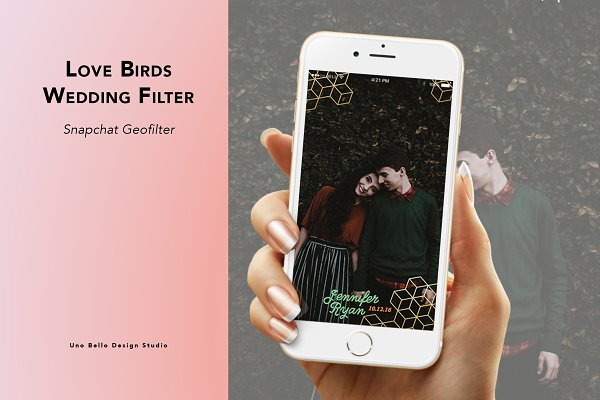 Snapchat Templates: Uno Bello Design Studio - Love Birds Wedding Geofilter
