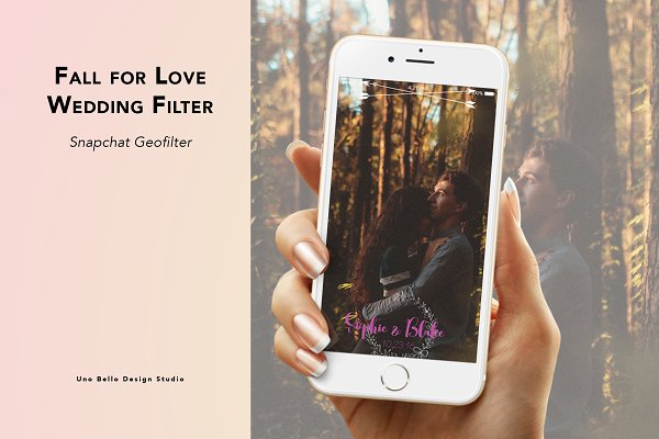Snapchat Templates: Uno Bello Design Studio - Fall for Love Wedding Geofilter