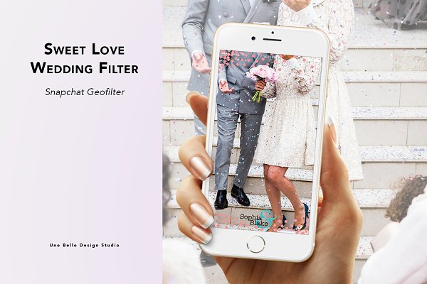 Snapchat Templates: Uno Bello Design Studio - Sweet Love Wedding Geofilter