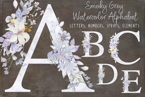 Smoky grey letters, numbers & sprays