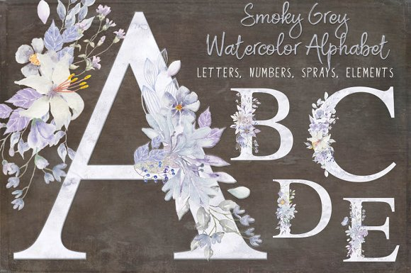 Smoky grey letters, numbers & sprays