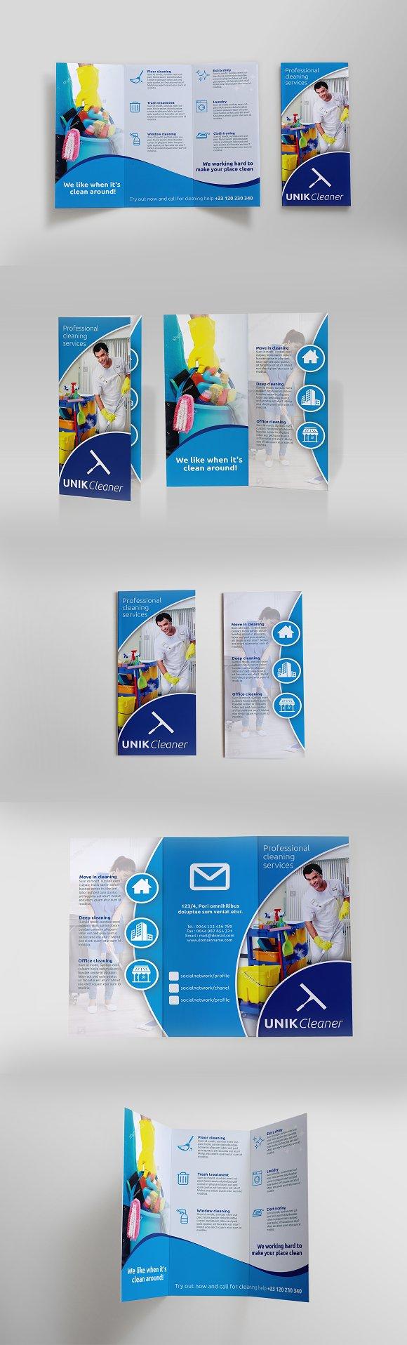 cleaning tri fold brochure sk brochure templates creative market