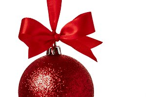 Red christmas ball with red bow
