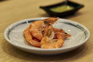 Cooked Whole Shrimps served in a dis