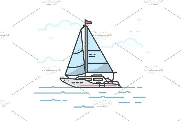 Big modern sail yacht