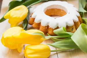 Easter cake and bunch of tulip