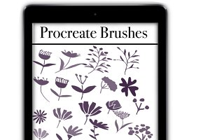 Procreate Brushes, floral stamp