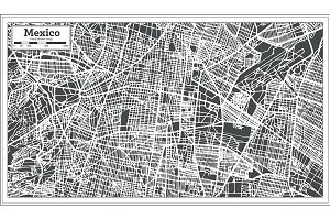 Mexico City Map in Retro Style.