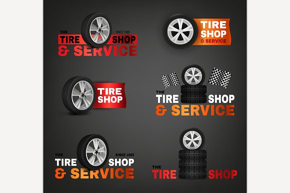 Tire Shop Logo Set