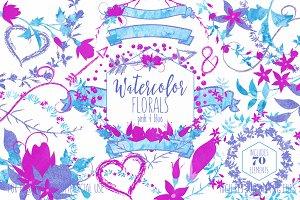 Pink & Blue Watercolor Floral Set