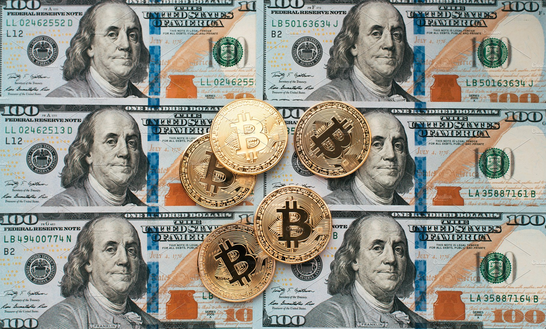 Coins Bitcoin There Are Money On Table A Note Of 100 Dollars The Banknotes Spread Out In Loose Order