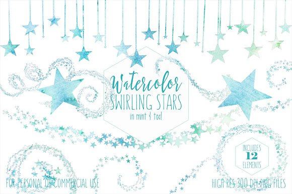 Teal & Mint Watercolor Star Clipart