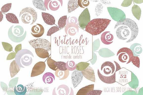 Mint & Blush Chic Floral Clipart