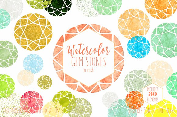 Watercolor Gemstones & Gold Metallic