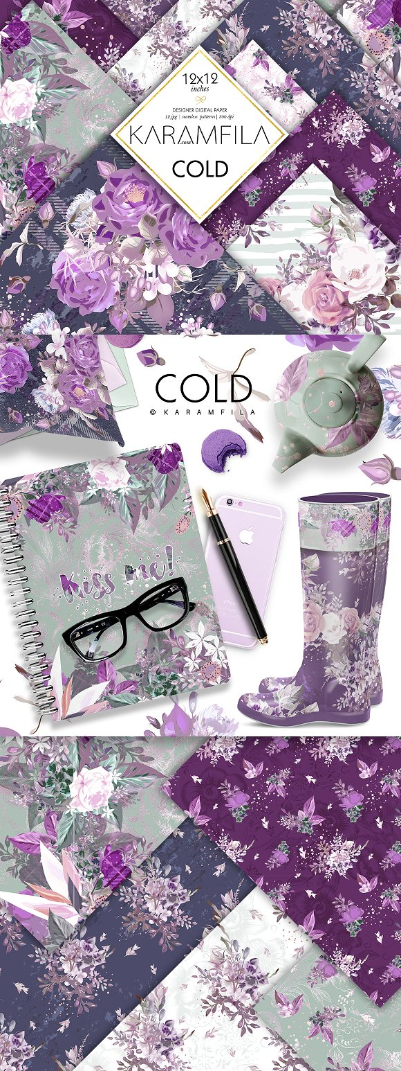 Purple Roses in Patterns