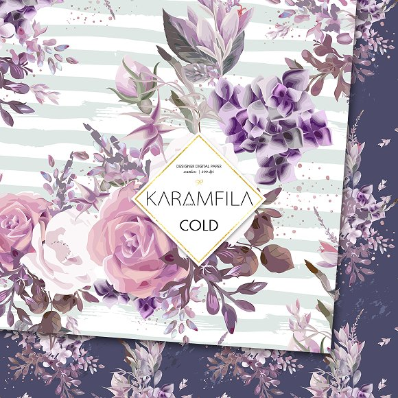 Purple Roses in Patterns - product preview 1