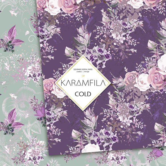 Purple Roses in Patterns - product preview 2