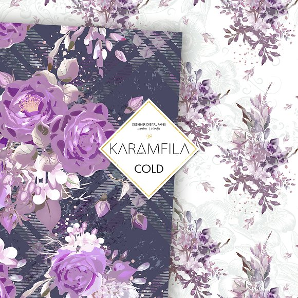 Purple Roses in Patterns - product preview 3