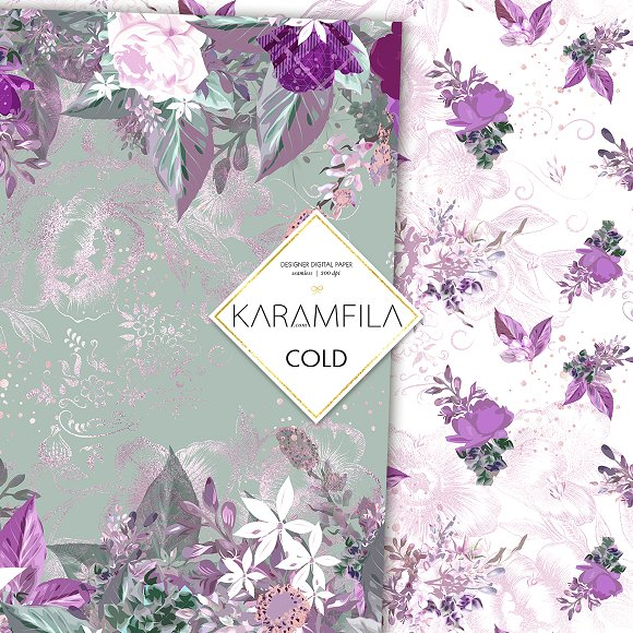 Purple Roses in Patterns - product preview 5