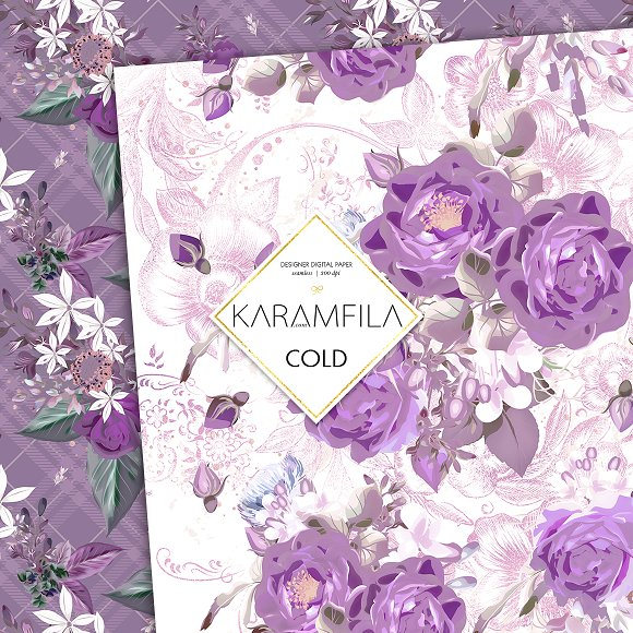 Purple Roses in Patterns - product preview 6