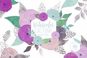 Purple & Mint Watercolor Floral Set