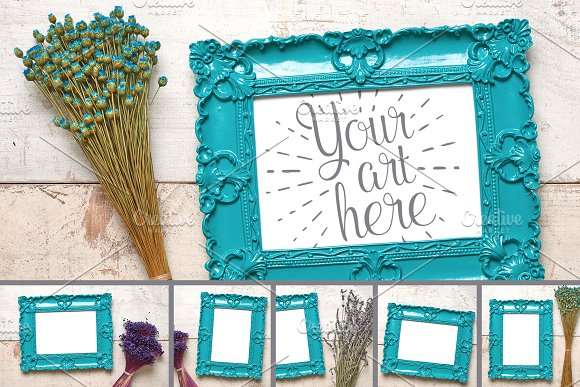 Dainty Delicate Frames & Flowers Set in Print Mockups
