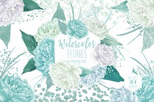 Watercolor Peony Floral in Mint