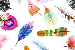 Magic feathers, seamless pattern