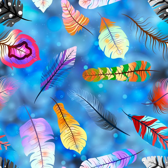 Colorful feathers on magic light