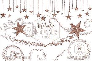 Rose Gold Metallic Star Clipart