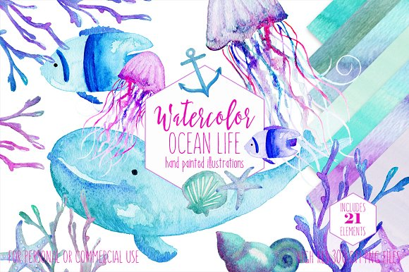 Watercolor Ocean Life Graphic Set