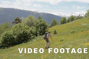 Girl goes up into the mountains, Mestia, Georgia