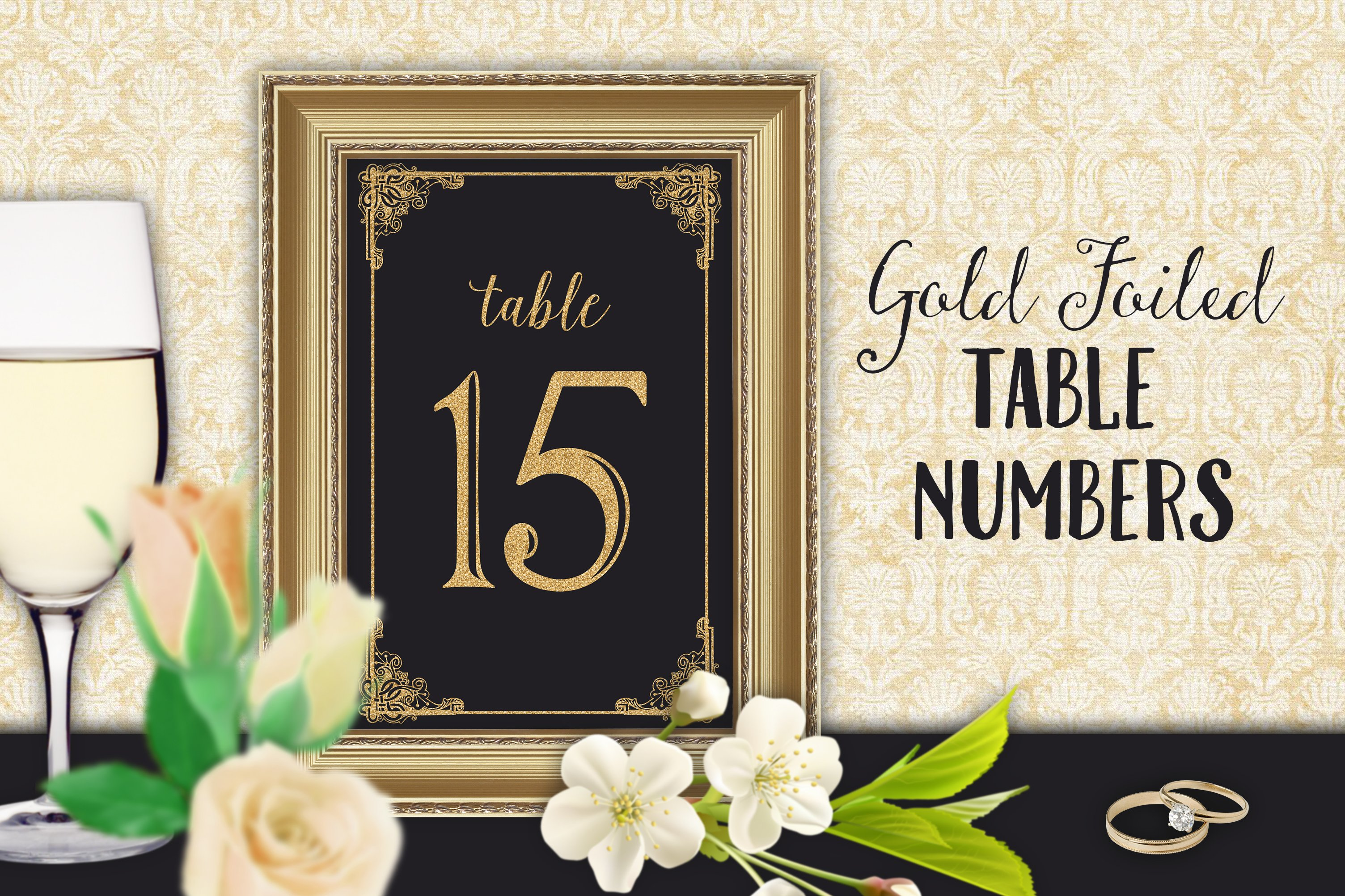 Table numbers wedding reception graphics creative market for Table 52 number